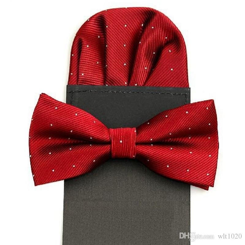 Muszka zestaw wkładka kieszeń kwadrat chusteczka kwadratowa ręcznik motyl kropka handka dla człowieka bowknot zestaw czarny czerwony ślub 2 zestaw / lot