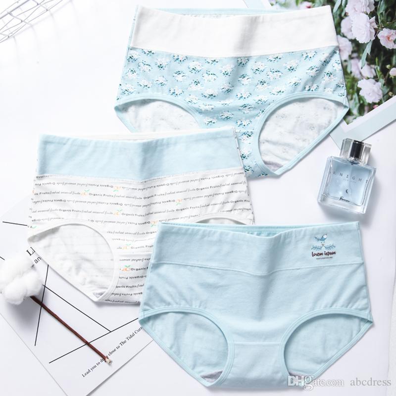 Womens Mid Waist Panties Cotton Cute Bowknot Printing Underwear Briefs