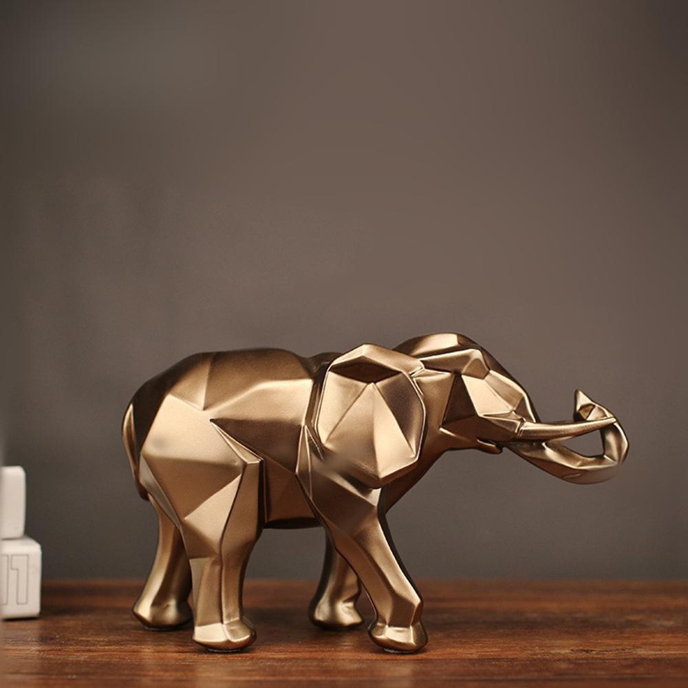 2019 moderne abstrakte Golden Elephant Statue Harz Ornament Hauptdekoration Accessoires Geschenke und schwarze Elefant Skulptur Tier Craft