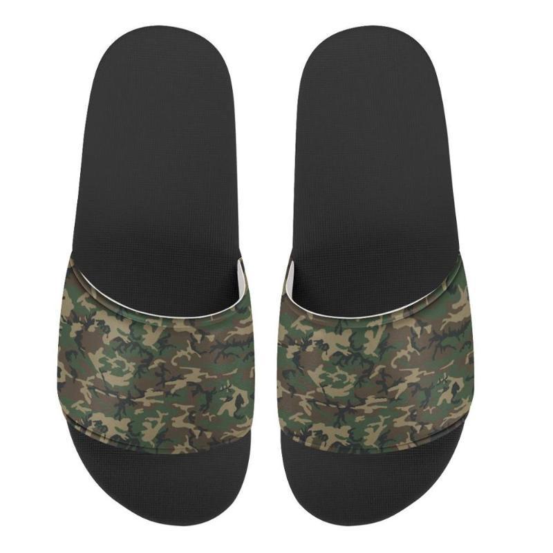 Мужчины Камуфляж на заказ Тапочки изображения Печать Летняя мода Slide Sandals Открытый Нескользящие Бич обувь Платформа Вьетнамки