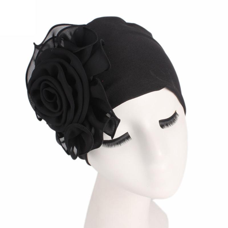 Las mujeres flor grande Pañuelo Cap quimioterapia occidental colmena del estilo de Chemo del cáncer sombrero Beanie bufanda turbante Wrap cobertura Cap # T1P