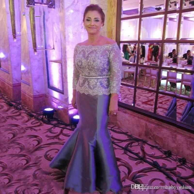 2019 off Ombro Bainha Vestido Mãe Sheer Lace manga comprida Formal vestidos de noite frisado apliques de Mãe Correia de noivo da noiva Vestidos