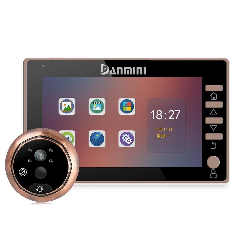 Danmini 45CHD-M 4.5 بوصة شاشة 3.0MP كاميرا الأمن لا الإزعاج ثقب الباب عارض، ودعم بطاقة TF / تسجيل للرؤية الليلية / فيديو / الحركة