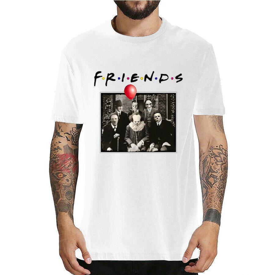 Fashion Lead Horror Friends Pennywise Michael Myers Jason Voorhees Halloween Men T-Shirt Top cotton Short sleeve T Shirt Camiseta masculina