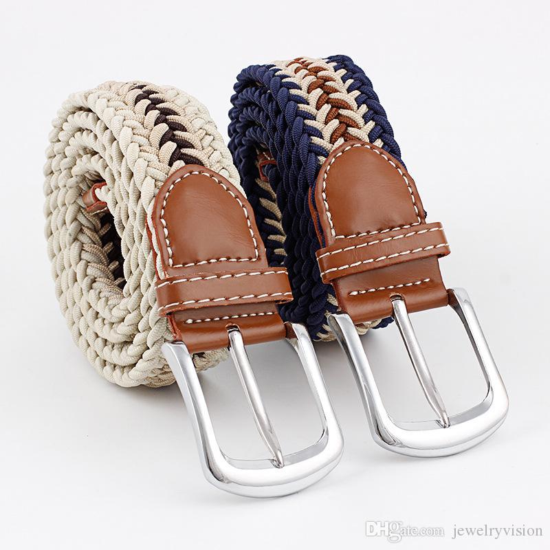 Cinturón Wovon para mujer, con hebilla de nuddle de metal para mujer, cinturón de lona elástica S546