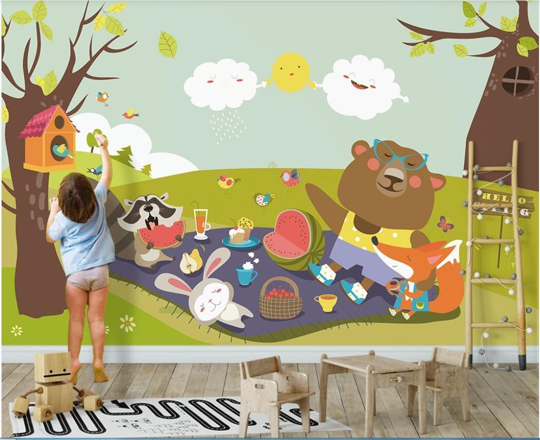 fotomurales personalizados fondo de pantalla 3d paisaje fresco sala de habitación de los niños fondo de la pared de los niños de dibujos animados pintar la pared del arte fotos