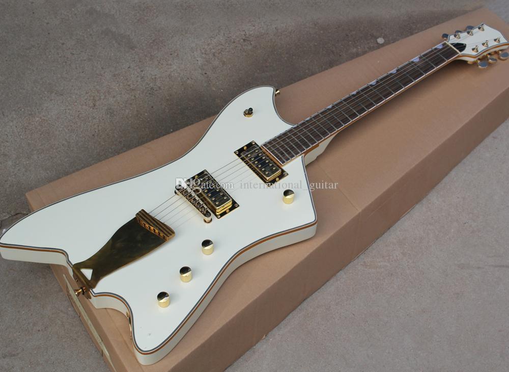 Venta al por mayor inusual forma de guitarra eléctrica blanca con palisandro, Oro Encuadernación, el hardware de Oro, se puede personalizar