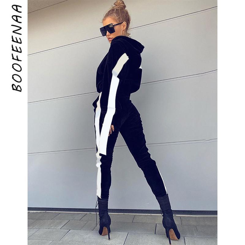 BOOFEENAA Winter Fleece Two Piece Velvet Set Cropped Hoodies Sweat Pants Women Matching Sets Tracksuit Jogging Suits C66-BD44