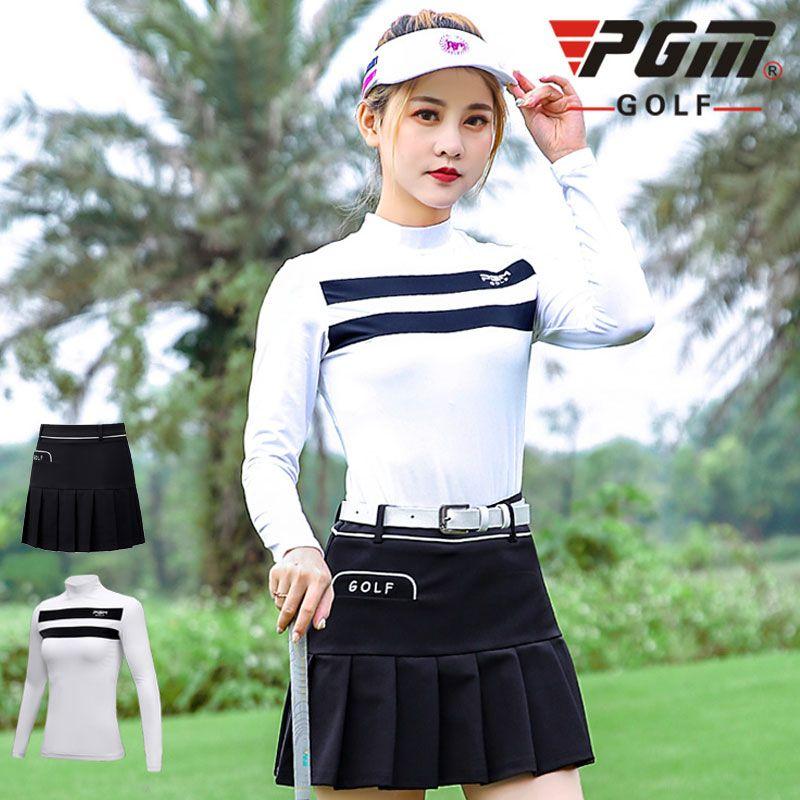 Pgm manches longues Vêtements femme Hauts shirt Costumes golfeuses sport Fit Dry plissés Tennis Jupes D0499
