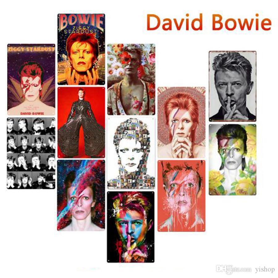 Placa de lata 24 Different 20 * 30 centímetros de metal Placa de lata Bar Pub metal decorativa retro do sinal da placa de metal Mural cantor David Bowie Bar Pub Wall Decor