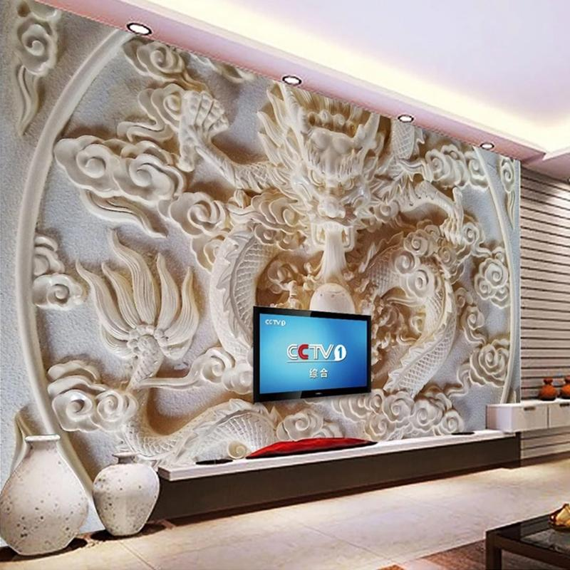 Custom 3d Wall Murals Wallpaper Chinese Style Dragon Relief Photo Mural 3d Stereoscopic Art Living Room Tv Background Wall Paper High Definition