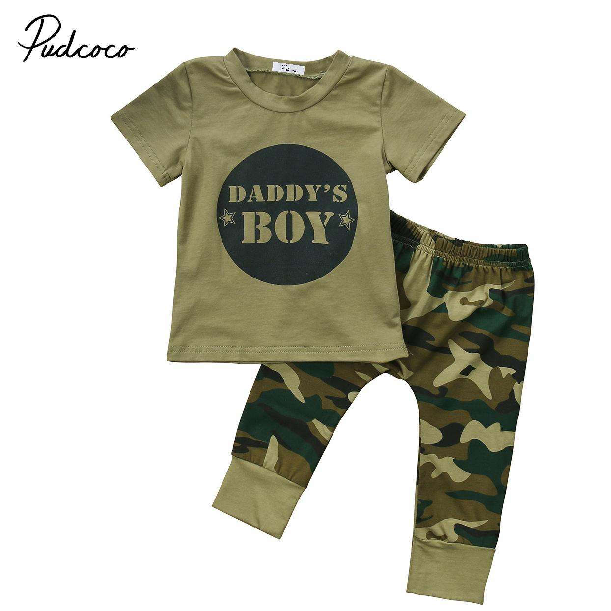 Summer Infant Baby Boys Camo Short Sleeve Tops T-shirt Shorts Outfit Set Clothes