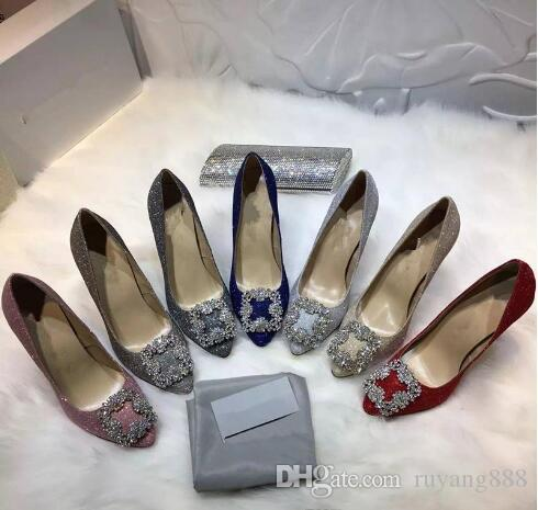 Stylish new elegant women's diamond heels, classic design style shallow mouthed pointy diamond sexy women's party wedding heels+box