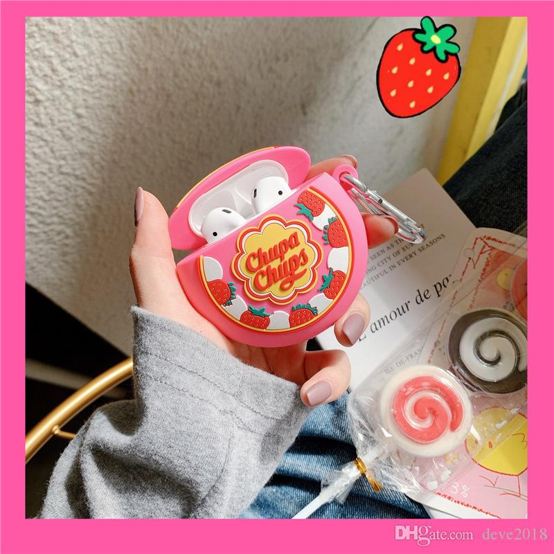 Cubierta de lollipop de fresa linda 3D para Airpods 1/2 Funda inalámbrica Bluetooth Earphone Funda de silicona para Airpods Pro Funda con llavero