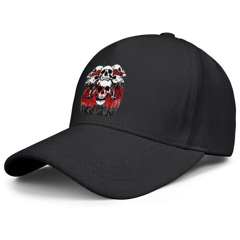 plaine balle hommes et casquettes de baseball des femmes coutume mode casquettes de camionneur Korn Red Roses Skull Splatter image KoRn New Metal Rock Band Key