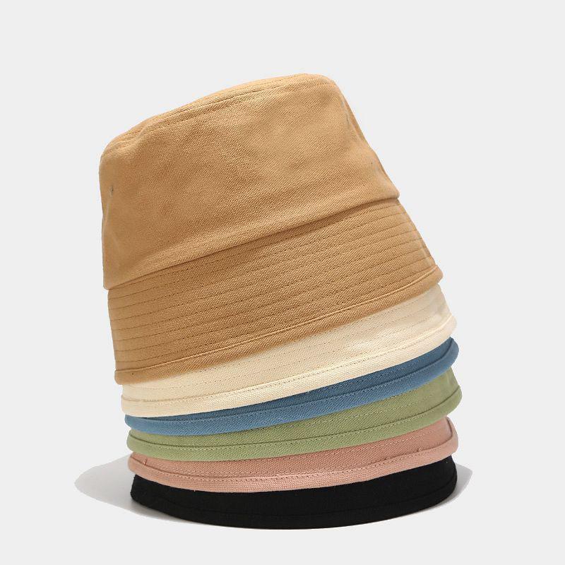 2020 Mujeres del sombrero nuevo color puro retro sombrero del cubo de hombres y mujeres de la calle de la moda gorras cuenca de algodón simple pescador de verano