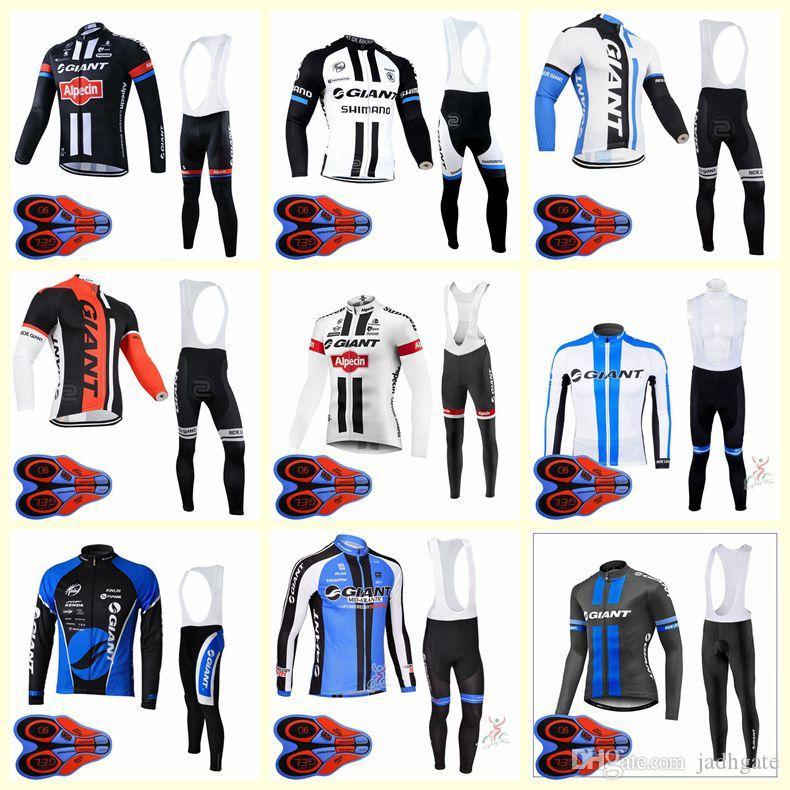 GIANT team Cycling long Sleeves jersey bib pants sets mens quick dry ropa ciclismo MTB Bike clothes racing wear U82805