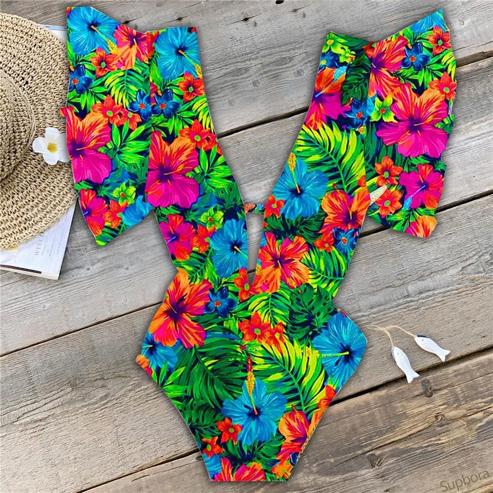 Ashgaily 2020 Sexy Swimwear Un pezzo donne costume da bagno floreale costume da bagno V profonda Backless Beach Wear Body Monokini femminile T200115