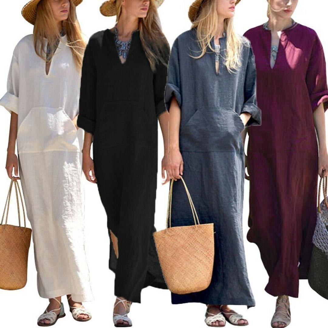 Женщины Лето Casual Cotton Linen Plain Багги Maxi Split Платье Женской Половина рукав V-образный вырез Пляж Boho Твердые Сыпучее длинное платье