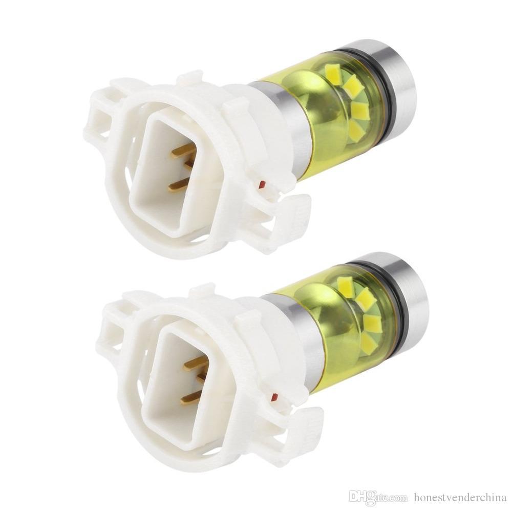 2pcs 100W H16 5202 3000K PS24W High Power LED Light Bulbs Golden Yellow Light Car Front Fog Lamps Fog Lights Car Accessories