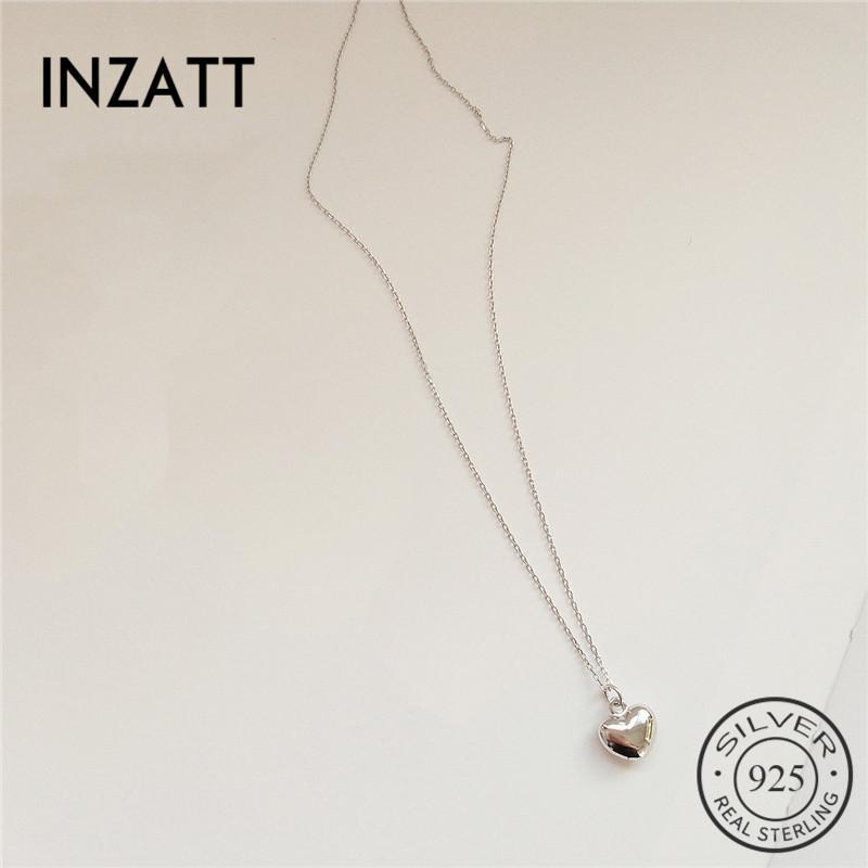 INZATT classique réel pendentif en argent 925 sterling coeur colliers pour les femmes Anniversary Party Mode Bijoux Or Couleur 2018 cadeau