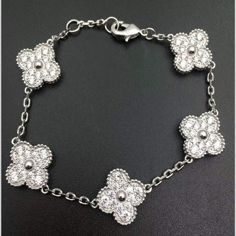 Fashion platinum plated fourleaf clover bracelet fashion romantic women microinlaid fiveleaf jewelry wholesale