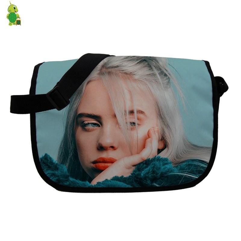 Hip Hop Billie Eilish Printing Women Messenger Bags School Shoulder Bags for Teenagers Boys Girls Students Crossbody Travel