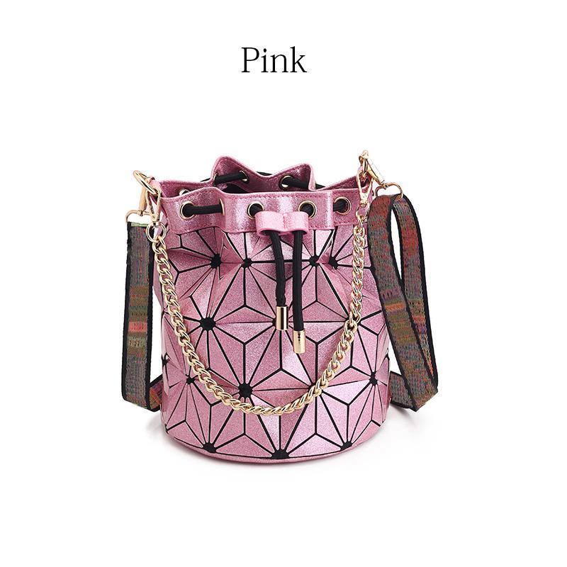 Últimas Bucket saco da bolsa de alta qualidade geométrica Bolsas da manta de ombro cadeia sacos de Bandoleira Bolsa Diamante Laser
