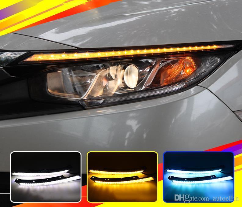 Para Honda Civic 2016 2017 Blink LEVOU Farol Sobrancelha Água Correndo Luz de Circulação Diurna DRL Com Sinal Amarelo