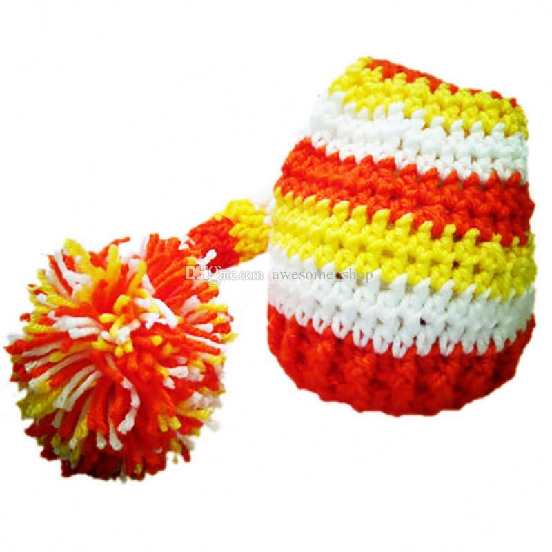 Crochet Baby Elf Hat,Handmade Baby Boy Girl Stripe Stocking Hat with Pom Pom,Kids Spring Winter Beanie,Infant Newborn Photo Prop
