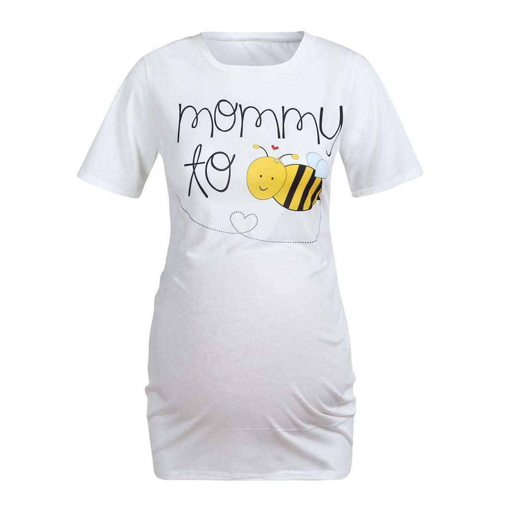 Enfermería superior verano de las mujeres elegantes historieta de la impresión suelta de manga corta camiseta alimentación de ropa de maternidad del embarazo más el tamaño 19Jan24