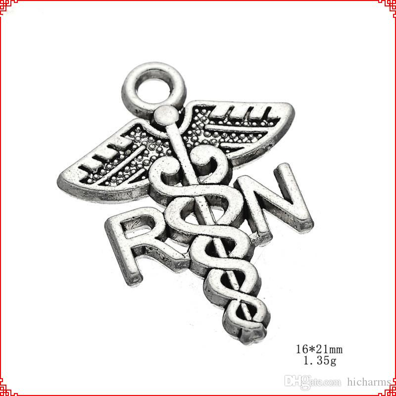50pcs Antique vintage tibetan silver gold RN medical charms metal dangle alloy pendants for necklace bracelet earring diy jewelry making