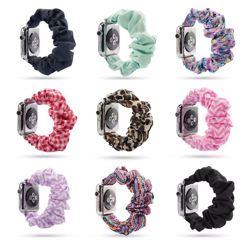 34 Renkler Çocuk İzle Scrunchie Gruplar 38mm 42mm Elastik Scrunchies Bilezik Glitter Kumaş Çiçek Leopar Yumuşak İzle Kayışlar sapanlar M813