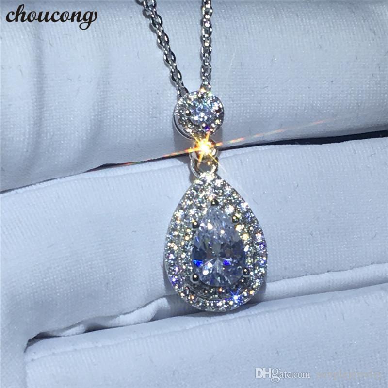 Choucong charme forma colar de água para as mulheres nupcial 5a zircão cz real 925 sterling silver pingente de casamento com colar de jóias