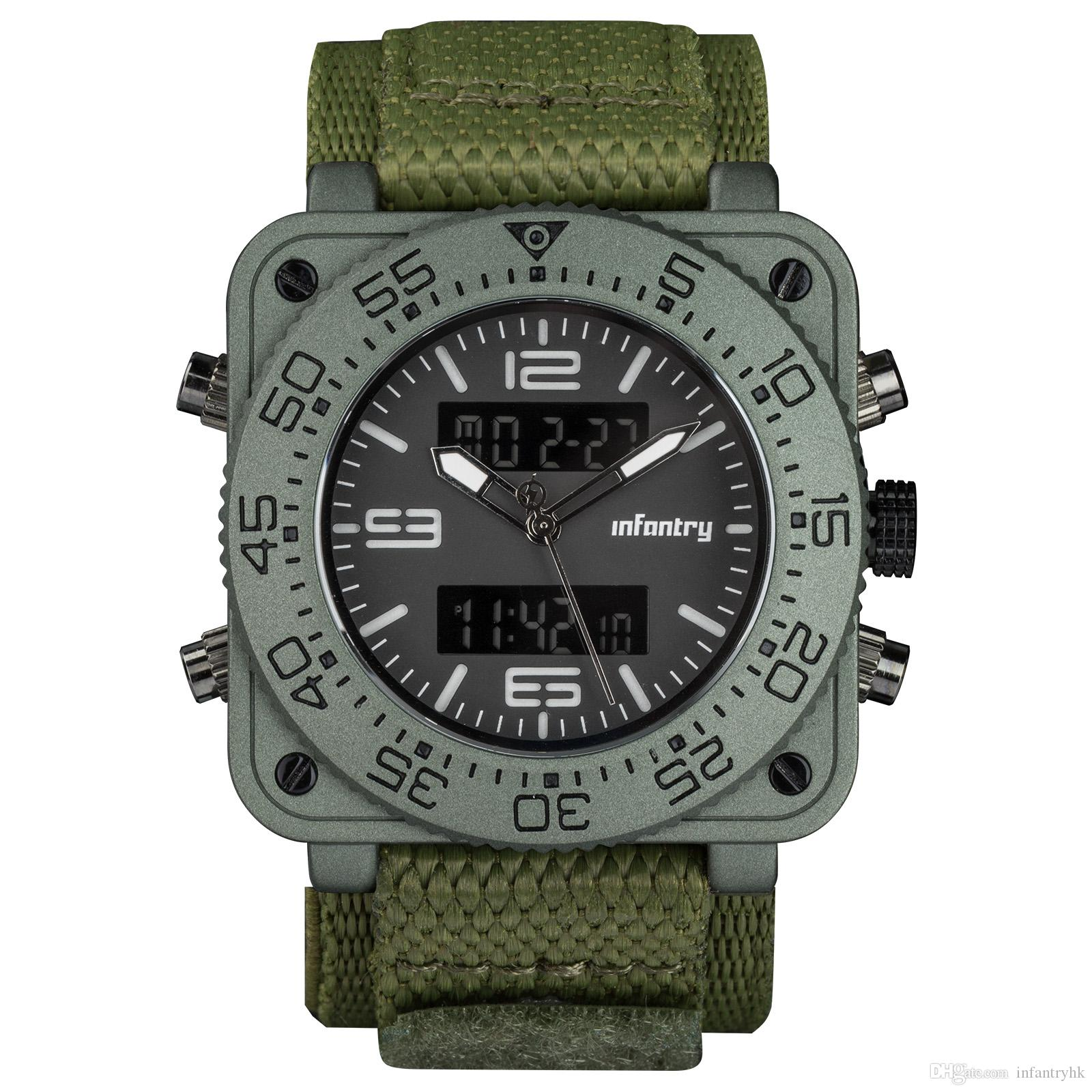 INFANTRY Big Face Mens Military Square Case Dual Time Tactical Digital/Analog Heavy Duty GreN hook and loop nylon Strap Wrist Watch