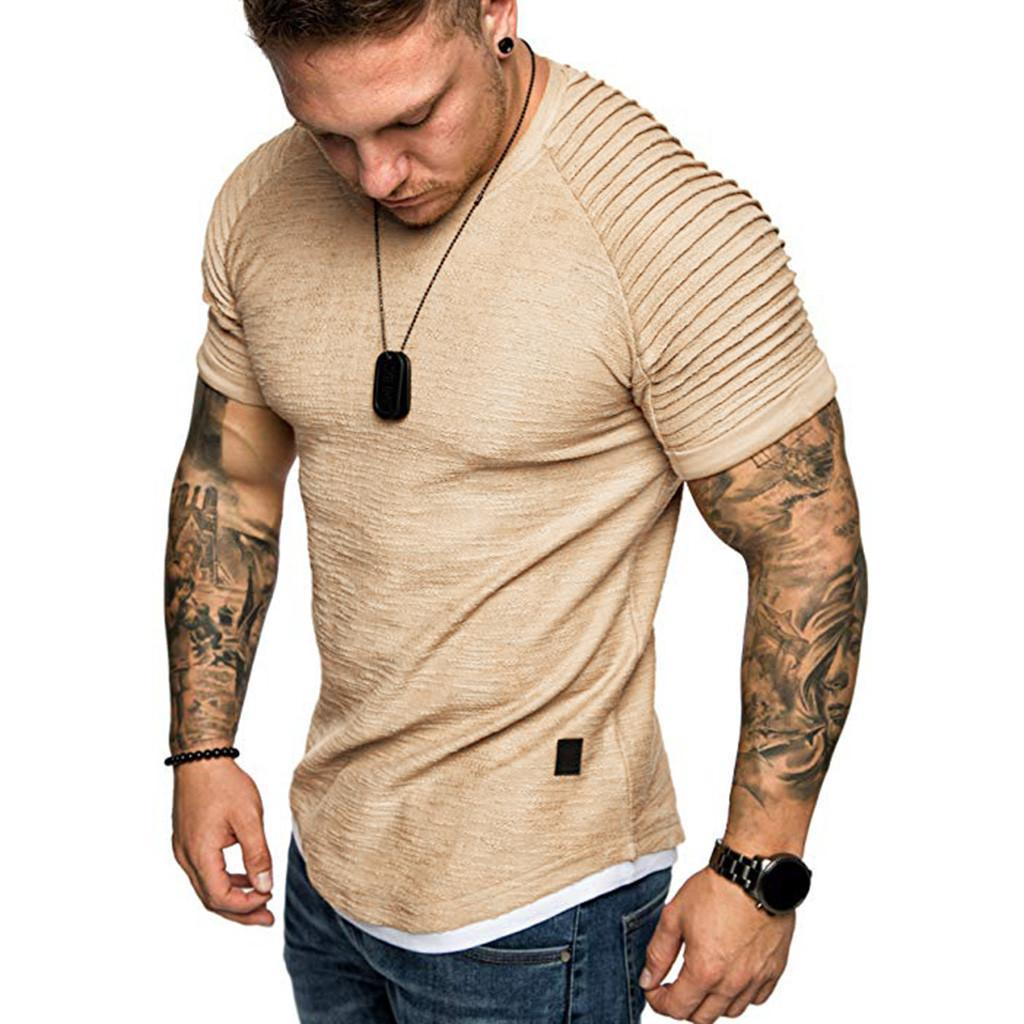 T Shirts Men 'S Summer Pleats Slim Fit Raglan Short Sleeve Pattern Top Blouse Casual Men Fashion Stranger Things Size M-3XL