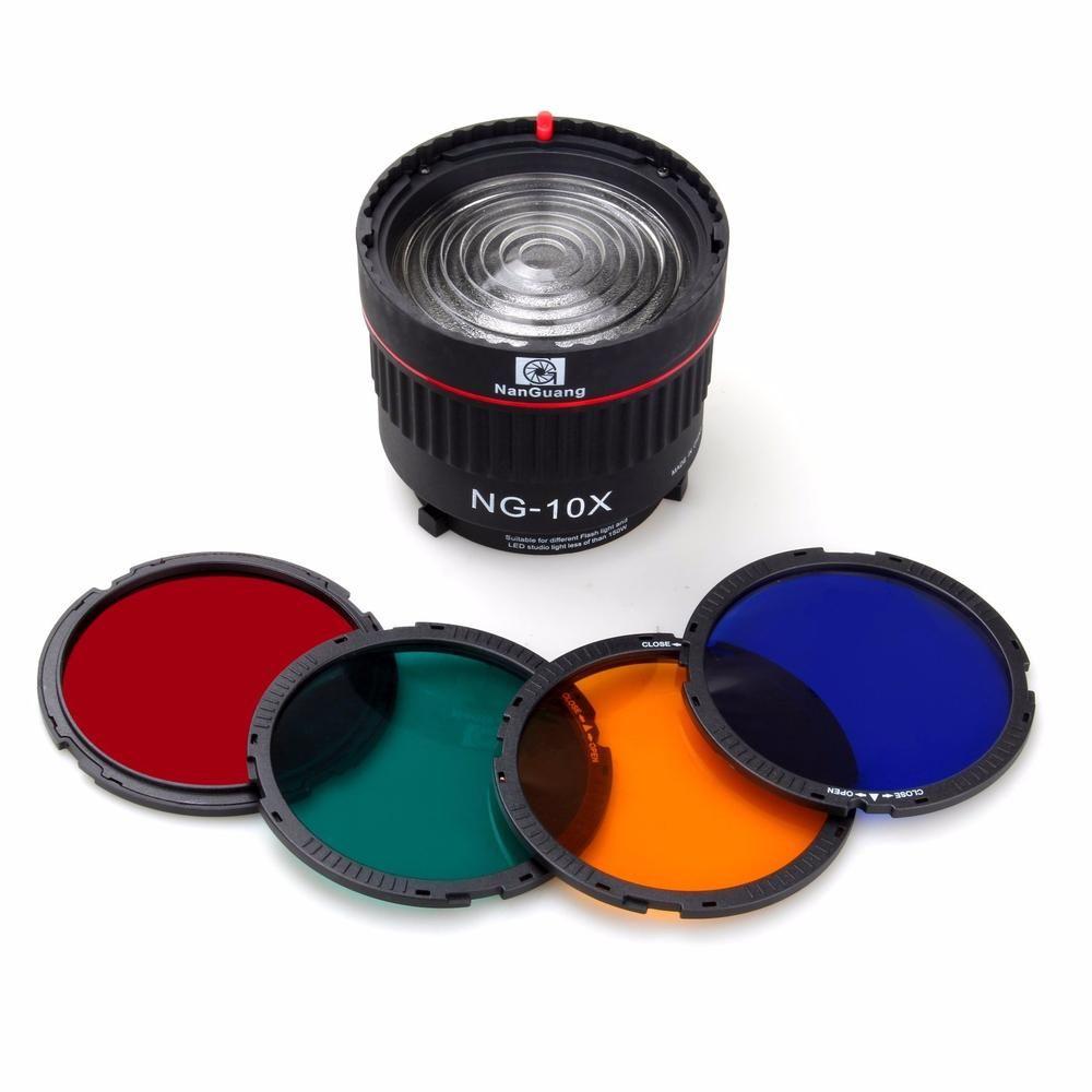 프리젠 테이션 Nanguang NG-10X 스튜디오 라이트 포커스 렌즈 Bowen Mount For Flash Led 라이트 4 컬러 필터