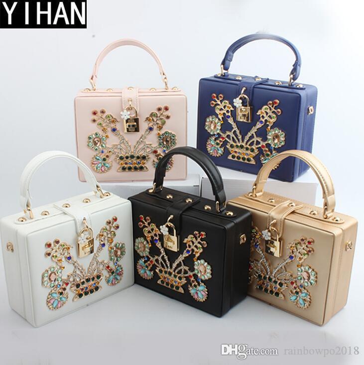 Factory own brand handbags exquisite color diamond women handbag elegant flower leather shoulder bag banquet dress diamond evening bag
