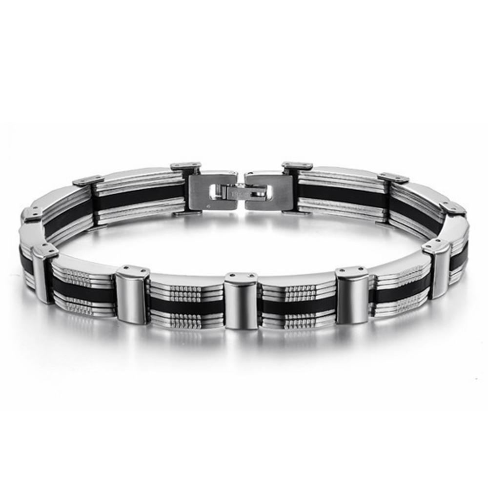 Man's Punk Fashion Party Jewelry Stainless Steel Bracelets Bangles Korea Trendy Accessories Classic Friendship Gift O627