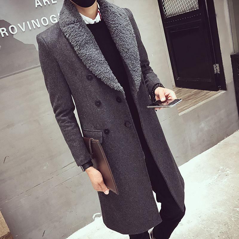 Hombres Invierno largo caliente grueso de la chaqueta Slim Fit Negro Gris Fosa de abrigo de lana con cuello de piel de la capa doble acolchado grueso Brested