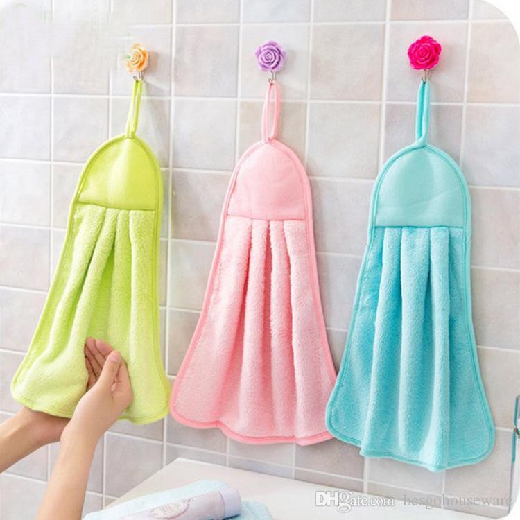 دائم ارتداء مقاومة أدوات المطبخ خرقة نظيفة معلقة 3 ألوان لينة مريحة منشفة اليد الصلبة الألوان ماصة المناشف BH0486 tqq