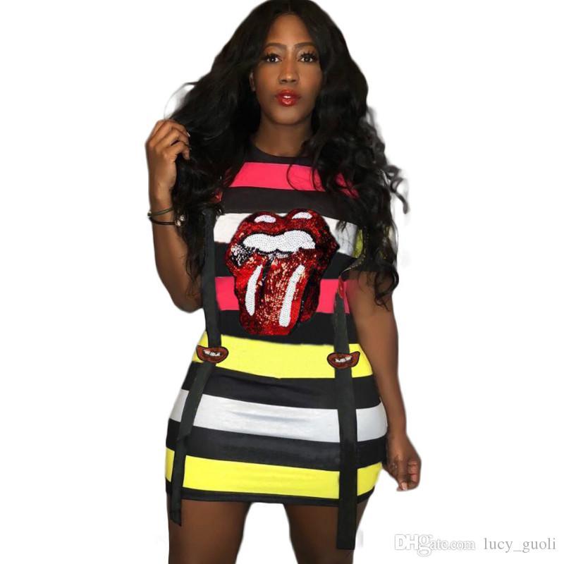 Sequin Dress Plus Size Cartoon Lip Print Mini Dress Stripe Bodycon Fashion Vestidos Womens Clothing Summer 2019 Women sexy club party dress