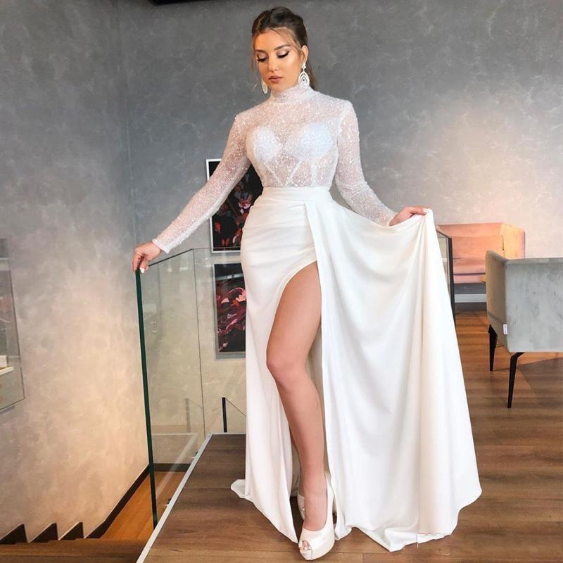 Seksi Cocktaiil Parti törenlerinde sayesinde payetli Denizkızı Gelinlik Modelleri Yüksek Yaka Uzun Kollu Yan Bölünmüş Abiye See Shining