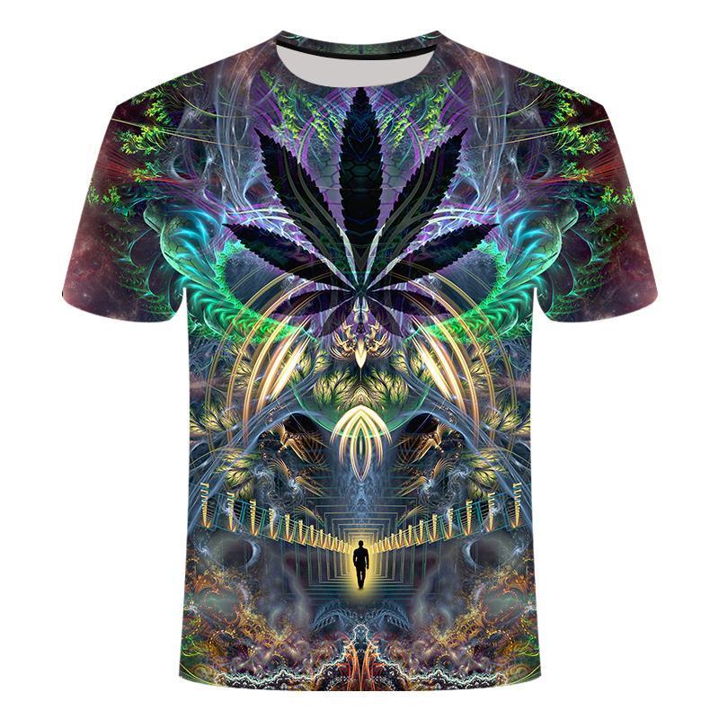Новый летний стиль Мужские футболки Красочные Galaxy Space Psychedelic Цветочные 3D Печать Женщины / Мужчины тенниска Hip Hop Casual Tees Tops