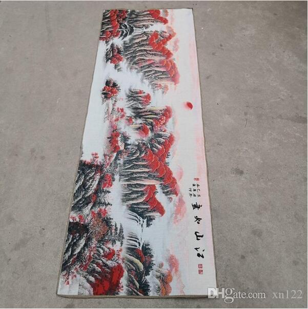 China alte Seide Thangka wie hängende Malerei Stickerei Malerei lange 180cm