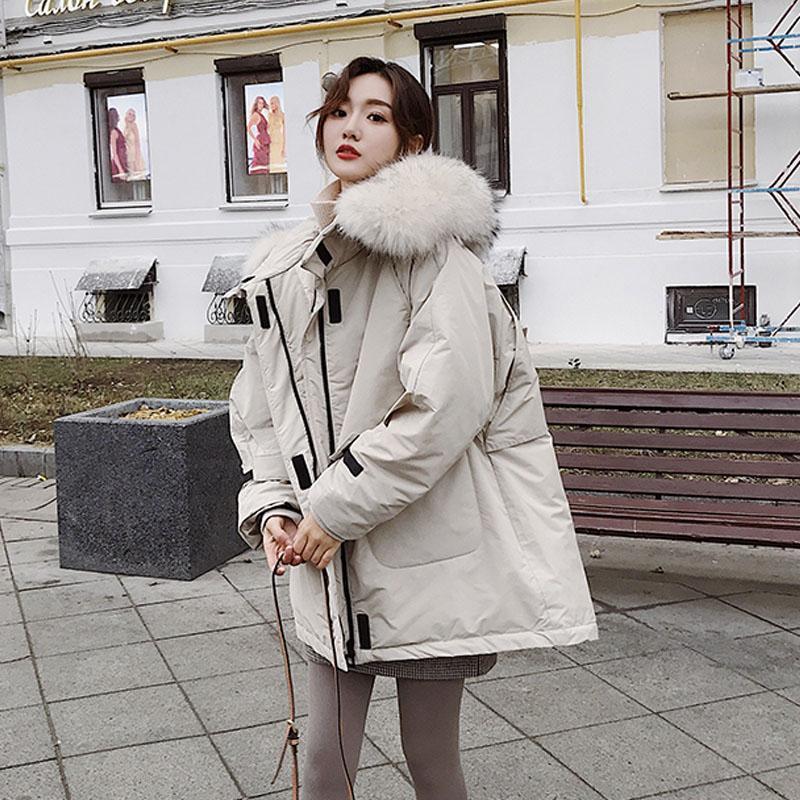 Mujeres chaqueta de invierno 2019 nueva gran collar de la piel del mapache real Parka con capucha gruesa de vestir exteriores de pato chaquetas Parkas Mujer