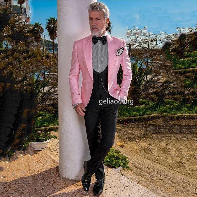 Новые Мужские костюмы 3 шт Slim Fit деловые костюмы Groom Tuxedos сшитого Тонкий Fit для формальной свадьбы (Blazer + брюки + жилет)
