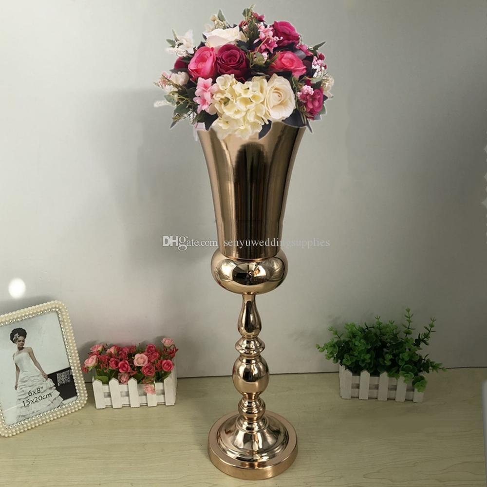 Flower Vase 60 cm Wedding Table Centerpieces Event Metal Vases Road Lead Gold Party event Decoration senyu0361