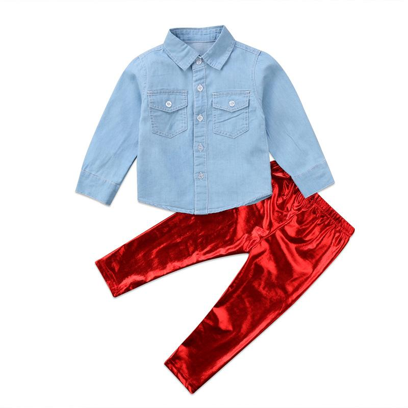 New Casual Newborn Infant Baby Girls Long Sleeve Tops Denim T Shirt Long Pants Outfits Casual Clothes