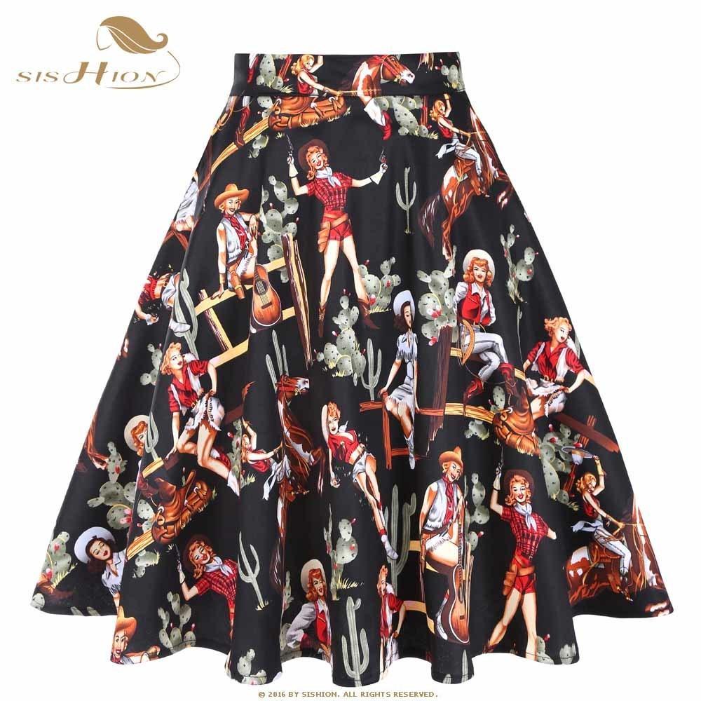Sishion Cotton Black Skirt 2019 neue Sommer Western Girl Print Vd0020 Sexy elegante 50er Jahre 60er Jahre Retro Vintage Frauen Röcke Plus Size Y19072001